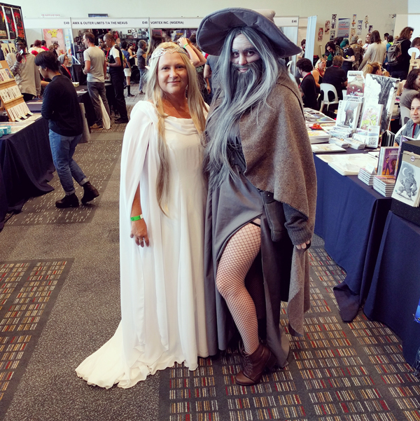 Gandalf the Sexy and Galadriel cosplay at FanCon 2017
